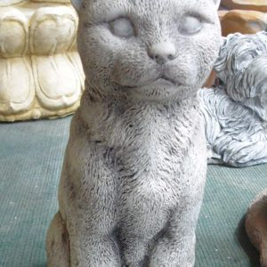 #7 - Concrete Large Upright Tabby Cat (grey)