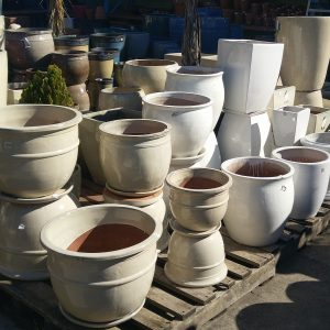 Cream and White Glazed Pots