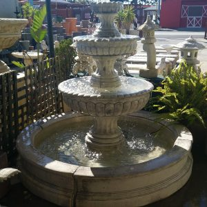 Three Tier Tall Chelsea Fountain in Pond